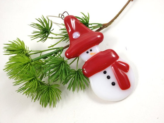 Fused Glass Christmas Ornament Snowman  by Mtbaldyglassworks, $12.00