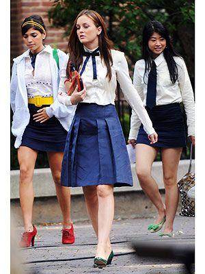 blue pleat skirt