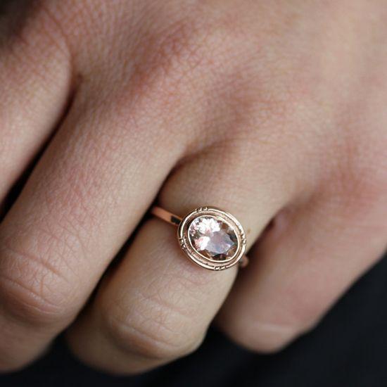 14k Rose Gold and Morganite Oval Halo Ring, Vintage Inspired Milgrain Detail,