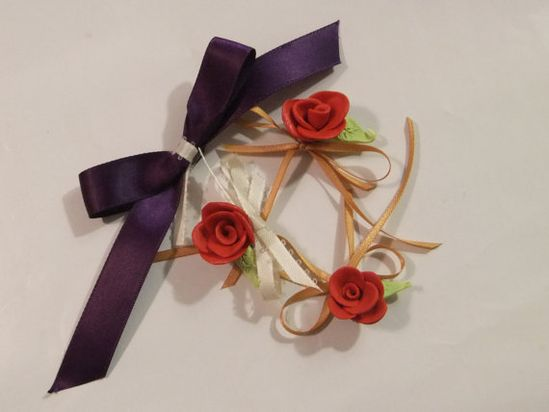 Handmade Rose and Ribbon Magnets Set of 4 by MuttiArtography, $9.99