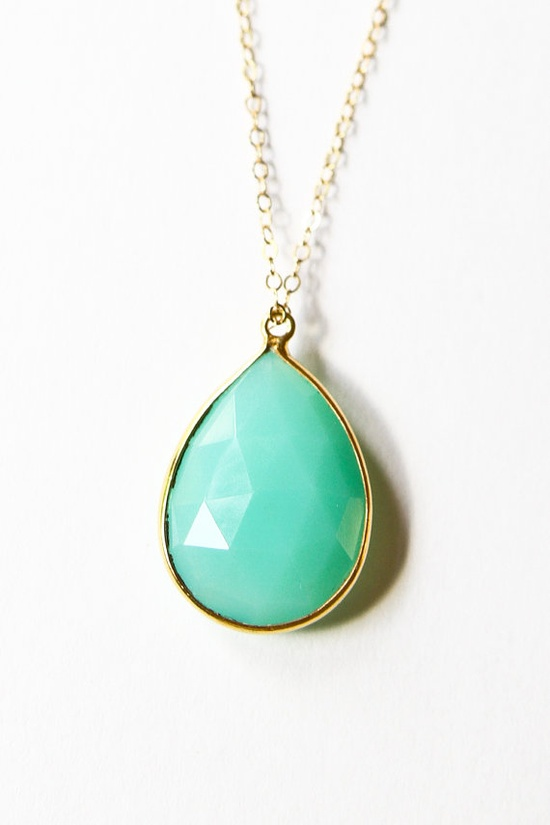 Sea green chalcedony necklace by Sea & Cake