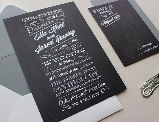 Chalkboard Modern Unique Wedding Invitations //DEPOSIT//
