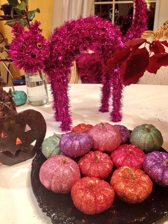 Flowers arrangements glittered pumpkins
