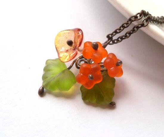 Glass beaded pendant orange copper wire jewelry Bouquet