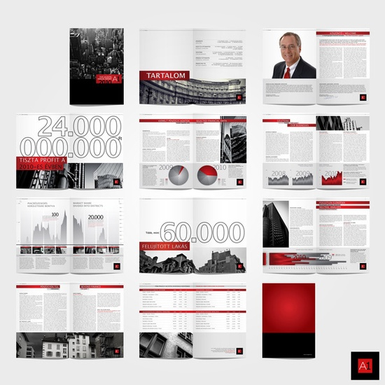 Faux Annual Report for imaginary real estate firm. Spreads. School Project.  ~Med Mate