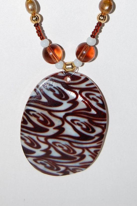 beaded jewelry animal print shell pendant by AurorasOriginals, $20.00