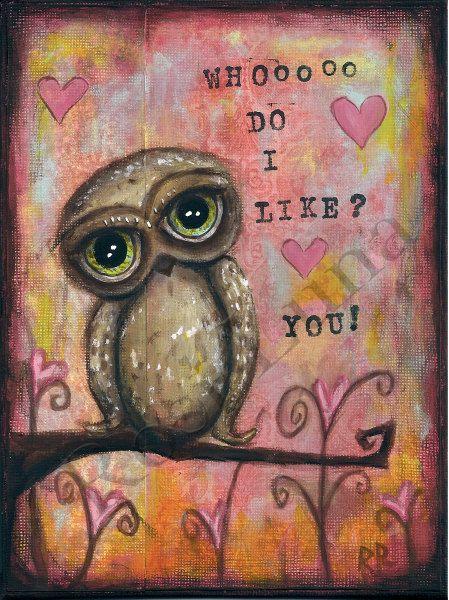 "Owl Valentine 5x7"" Card"