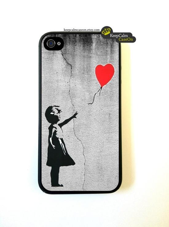Banksy Balloon Girl On Wall iPhone by KeepCalmCaseOn