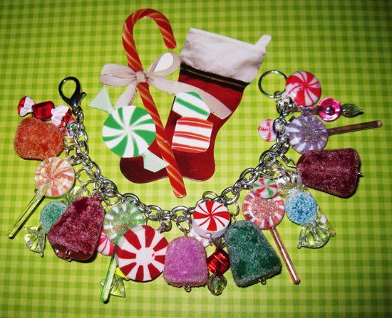 Christmas Candy Charm Bracelet Sugar Gumdrops Peppermints by Jynxx, $35.00