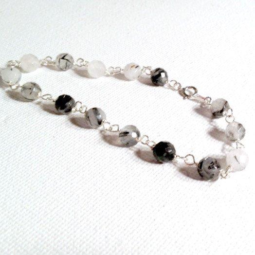 Tourmilated Quartz Skinny Bracelet Tourmilated by jewelrybycarmal, $32.00