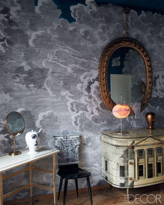 Wallpaper like swirling clouds.