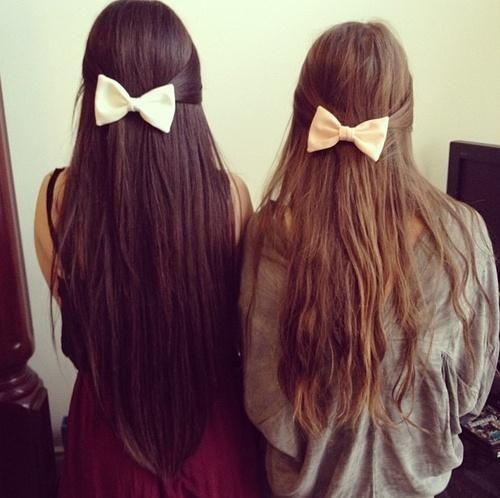 long hair + bows