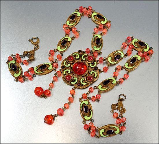 Czech Glass Art Deco Necklace Enamel Rhinestone Bead Vintage 1920s Art Deco Jewelry Pink Red via Etsy