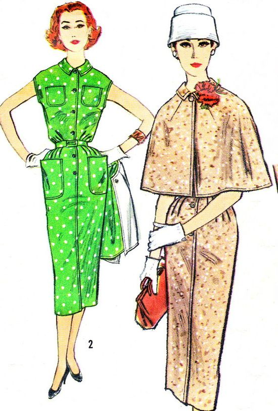 1950s dress with cape sewing pattern illustrations.