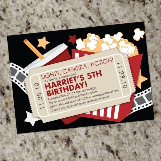 MOVIE NIGHT  Custom Party Invitations  Print Your by Whirlibird, $12.99