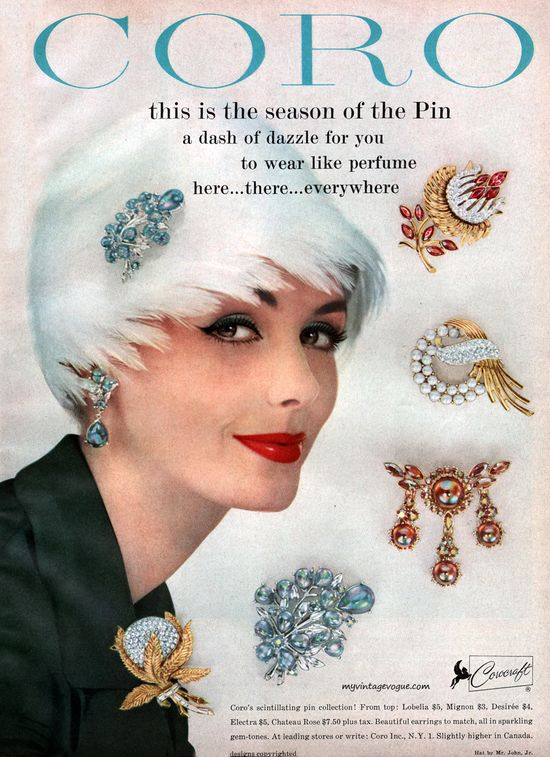 model: lucinda hollingsworth for coro jewelry - 1958 courtesy of vintage vogue - we're thinking a resurrection of the brooch would be brilliant!