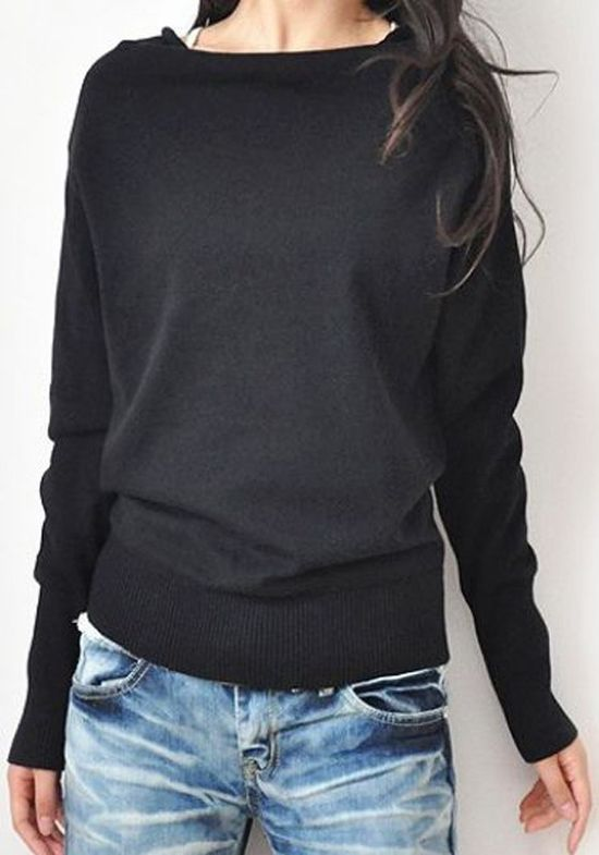 Boat neck sweater.