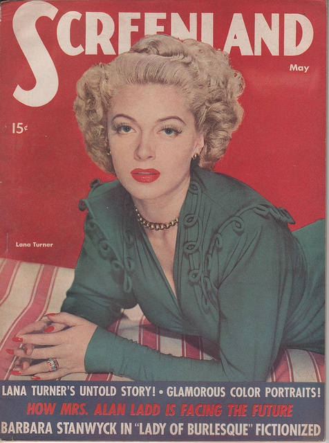I adore every last element of Lana Turner's elegant look on this 1940s Screenland magazine cover. #magazine #1940s #forties #vintage #clothing #fashion #Lana_Turner