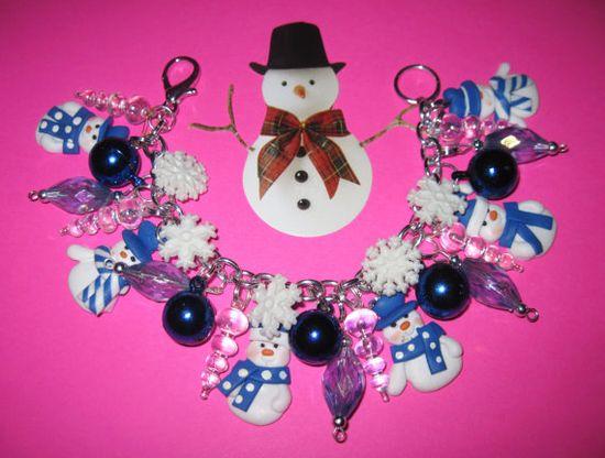 Snowman Charm Bracelet Winter Snow Snowflake Christmas by Jynxx, $32.00