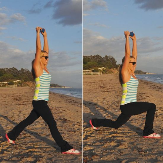 Top Five Moves for Major Fat Burning: Split Lunge with Arms Overhead
