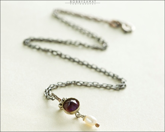 Oxidized Sterling Silver Amethyst & Freshwater Pearl Necklace - Jewelry by Jason Stroud.