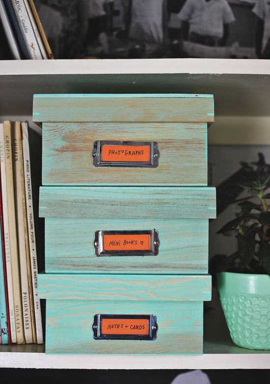 DIY: stained storage boxes