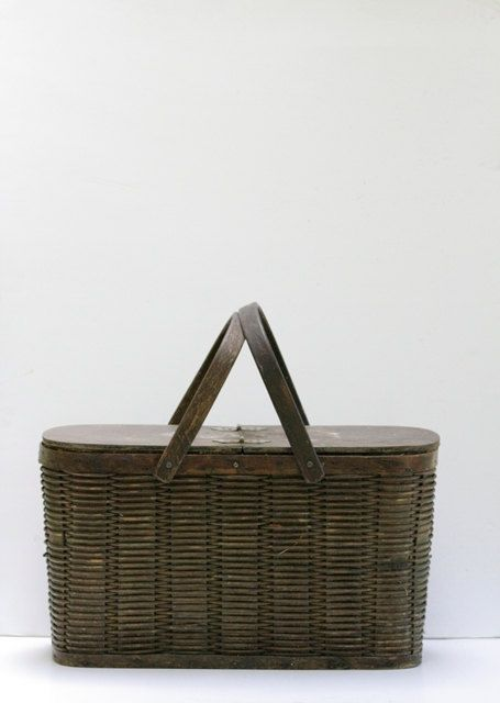 Vintage Insulated Tin and Wicker Picnic Basket