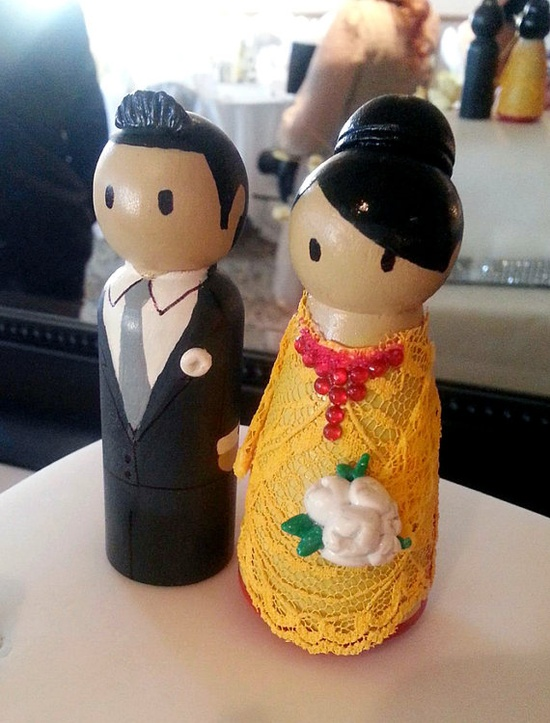 Ao Dai Wedding Peg Doll