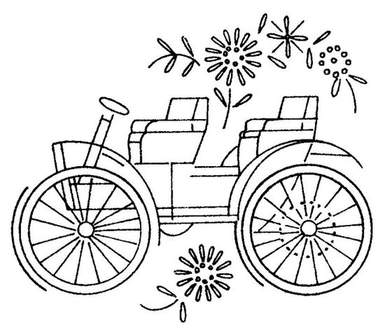 antique car embroidery pattern
