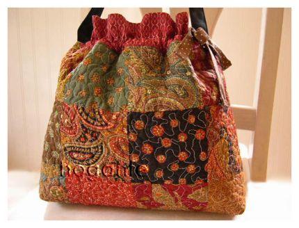 handmade drawstring modern patchwork quilted handbag