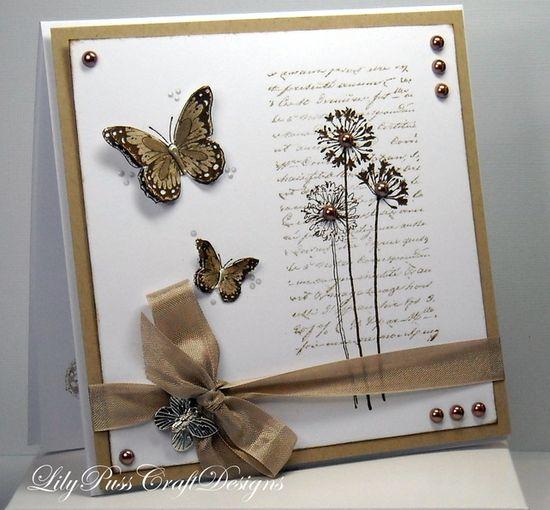 Kraft Butterflies Handmade card - Folksy