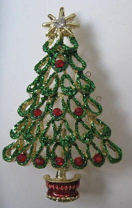 Christopher Radko Jewelry Glittery Christmas Tree Pin by vintagejunque,