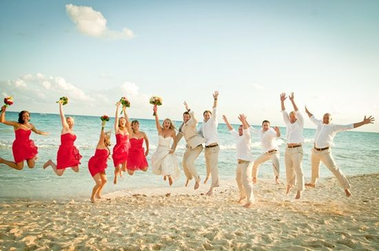 Beach wedding photo.