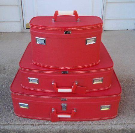 Vintage Luggage Red