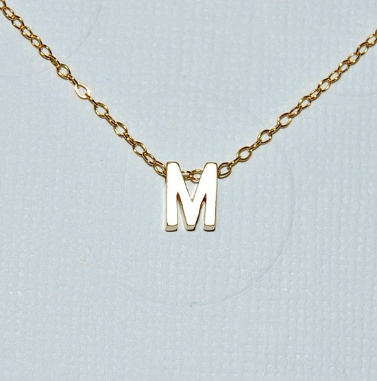 Tiny initial necklace - simple modern jewelry easy