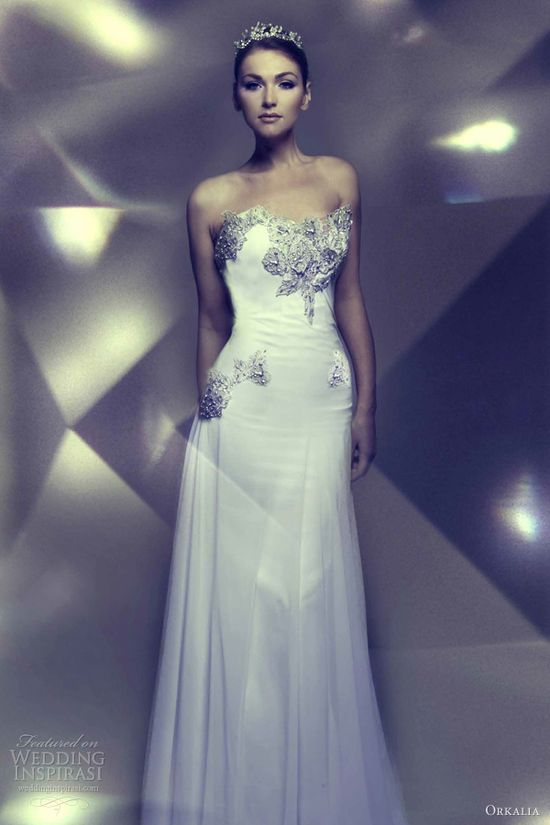 orkalia wedding dress 2013 bridal couture strapless gown embellished