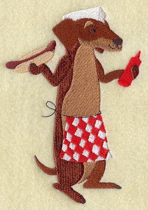Hot Dog Vending Daschund Embroidered Flour by CreatureCreations4u