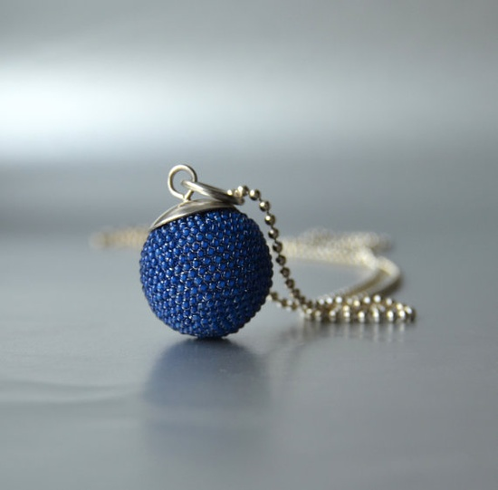 big beaded sphere pendant in indigo blue by Donauluft on Etsy, €135.00