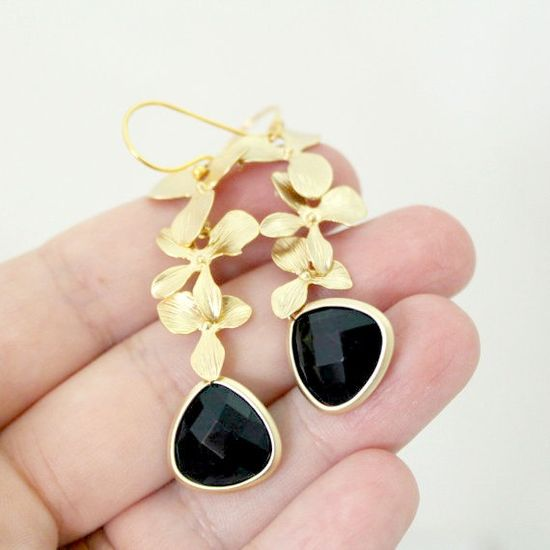 Black Onyx Triple Orchid Earrings by anatoliantaledesign on Etsy, $31.00
