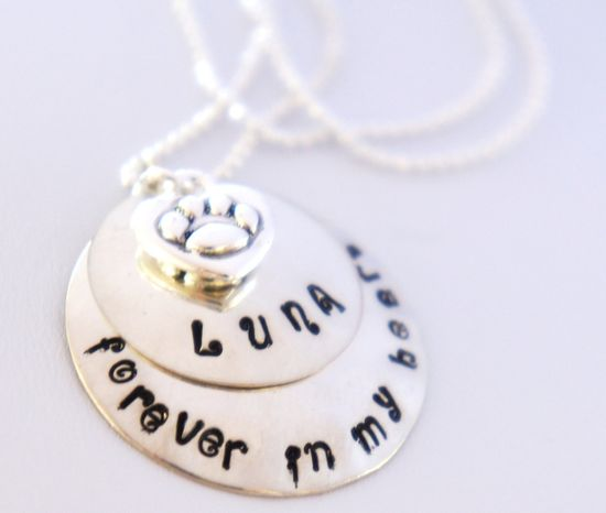 Personalized Pet Memorial Necklace Custom Hand Stamped Pet Loss Necklace In Memory of Cat or Dog Sterling Silver Name Jewelry. $48.00, via Etsy.
