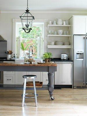 Cottage kitchen with grey island