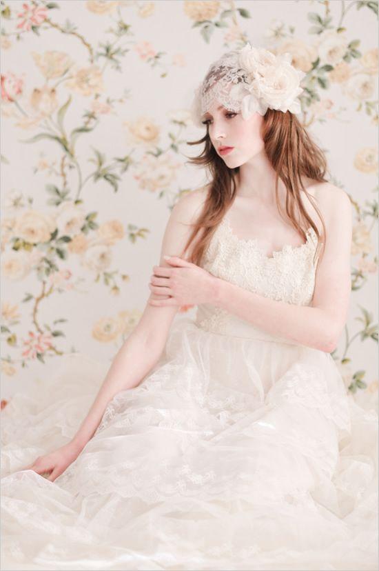 bridal wedding cap