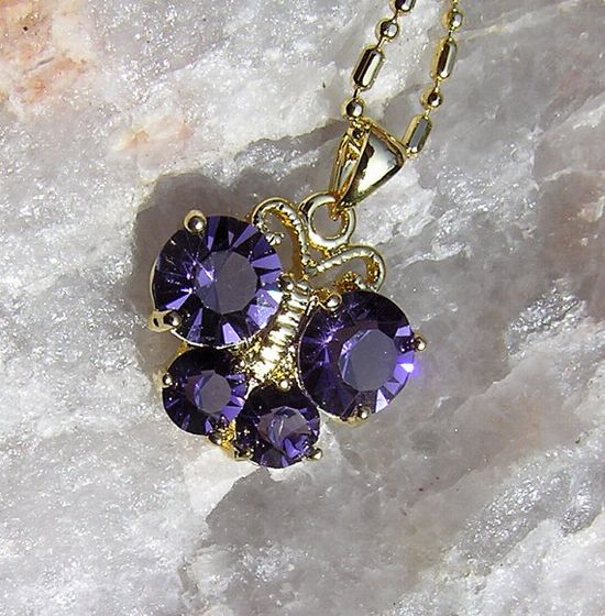 Purple Amethyst Butterfly Pendant  Vintage by SunnyCrystals, £9.50