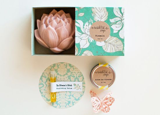 MOTHERS DAY Gift Set Lotus Flower Soap Lip by seventhtreesoaps