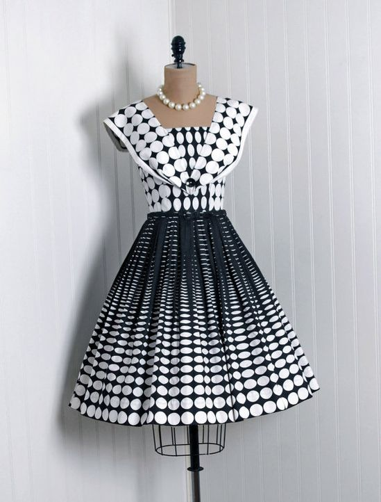 1950s black-and-white polka-dot cotton dress