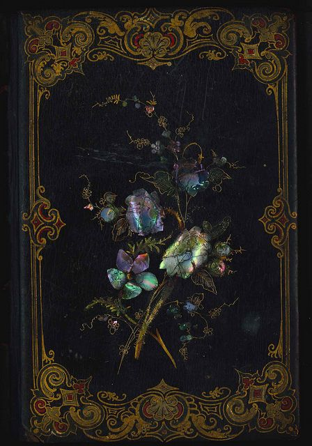 Victorian book cover with mother of pearl detail. Amazing.