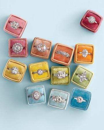 diamonds, diamonds, diamonds in colorful ring boxes