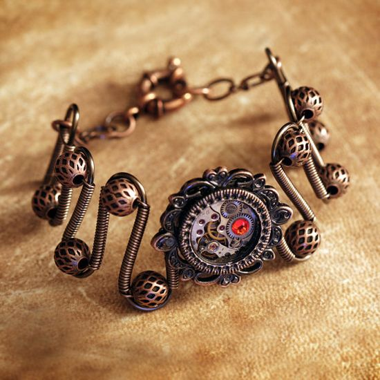 Steampunk Jewelry - Copper-  Bracelet with antique watch movement and Fire Opal swarovski crsytal- Victorian