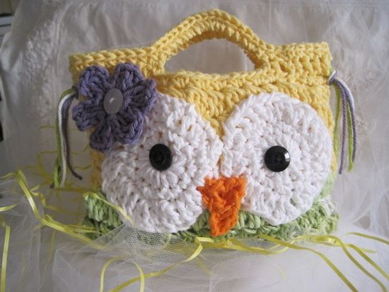 Crocheted Owly Hand Bag for Children by CountryBumpkinBottle, $12.00
