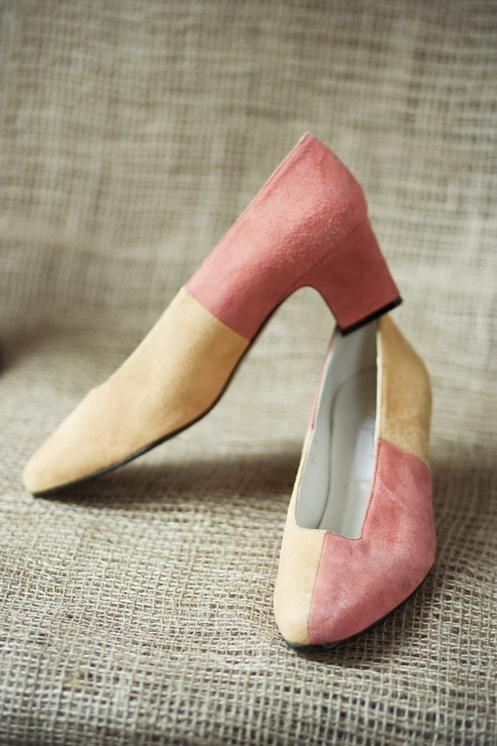 Vintage Mod Harlequin Apart Shoes in Orange and Yellow Suede
